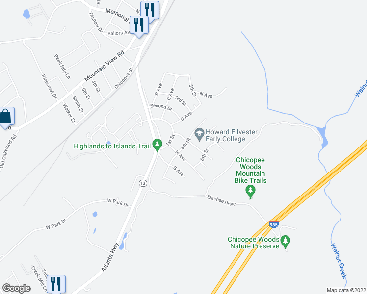 map of restaurants, bars, coffee shops, grocery stores, and more near 21 6th Street in Gainesville