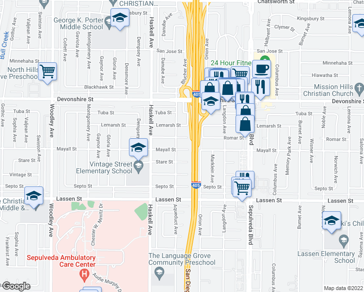 map of restaurants, bars, coffee shops, grocery stores, and more near 15649 Mayall Street in Los Angeles