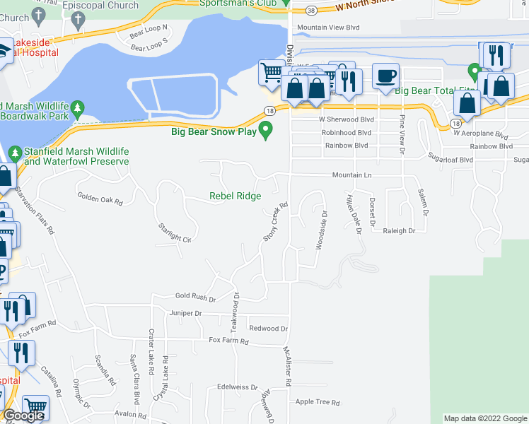map of restaurants, bars, coffee shops, grocery stores, and more near 42821 Eagles Flight Place in Big Bear Lake