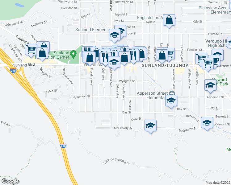 map of restaurants, bars, coffee shops, grocery stores, and more near 10313 Eldora Avenue in Los Angeles