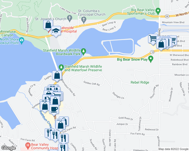 map of restaurants, bars, coffee shops, grocery stores, and more near 42384 Eagle Ridge in Big Bear Lake