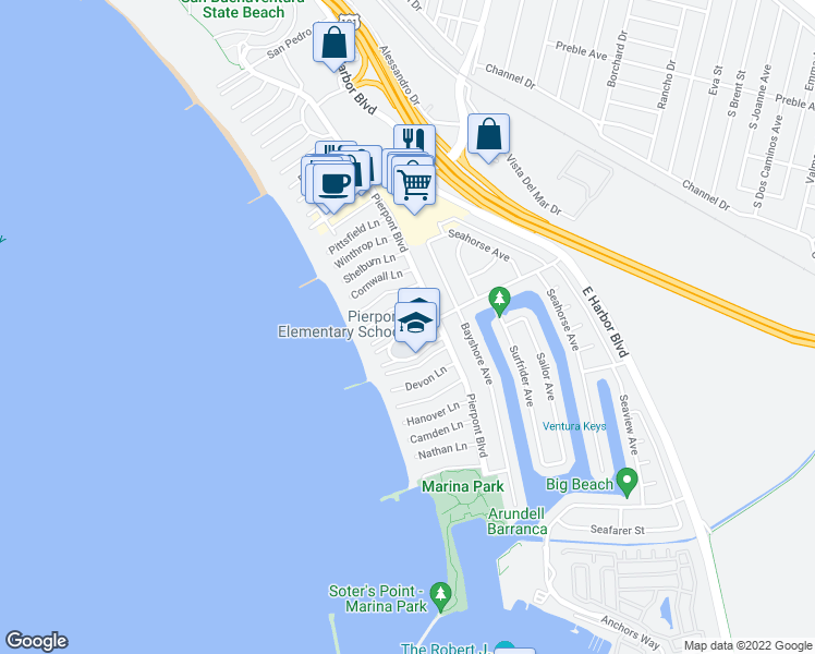 map of restaurants, bars, coffee shops, grocery stores, and more near 1205 New Bedford Court in Ventura