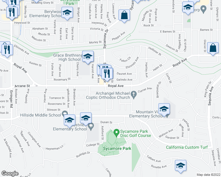 map of restaurants, bars, coffee shops, grocery stores, and more near 1176 Treadwell Avenue in Simi Valley