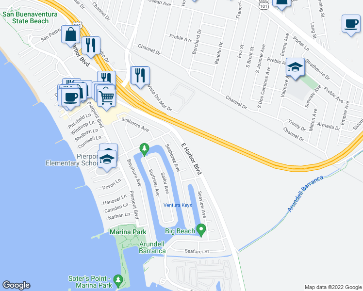 map of restaurants, bars, coffee shops, grocery stores, and more near 2677 East Harbor Boulevard in Ventura