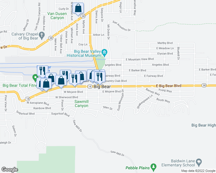 map of restaurants, bars, coffee shops, grocery stores, and more near 721 Moreno Lane in Big Bear