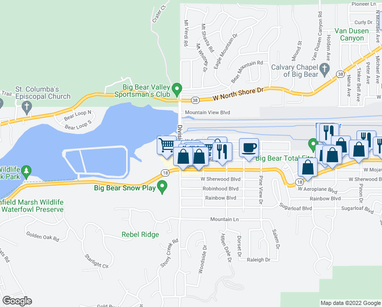 map of restaurants, bars, coffee shops, grocery stores, and more near 1124 West Country Club Boulevard in Big Bear
