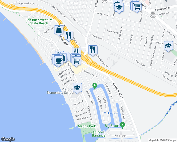 map of restaurants, bars, coffee shops, grocery stores, and more near 2496 Seahorse Avenue in Ventura