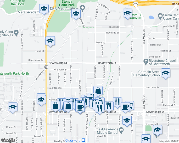 map of restaurants, bars, coffee shops, grocery stores, and more near 21429 Germain St in Los Angeles