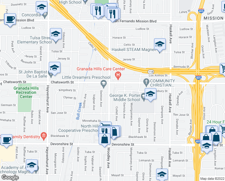map of restaurants, bars, coffee shops, grocery stores, and more near 10636 Woodley Avenue in Los Angeles