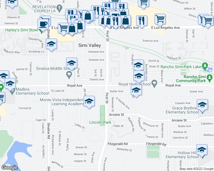 map of restaurants, bars, coffee shops, grocery stores, and more near 1st Street & Royal Avenue in Simi Valley