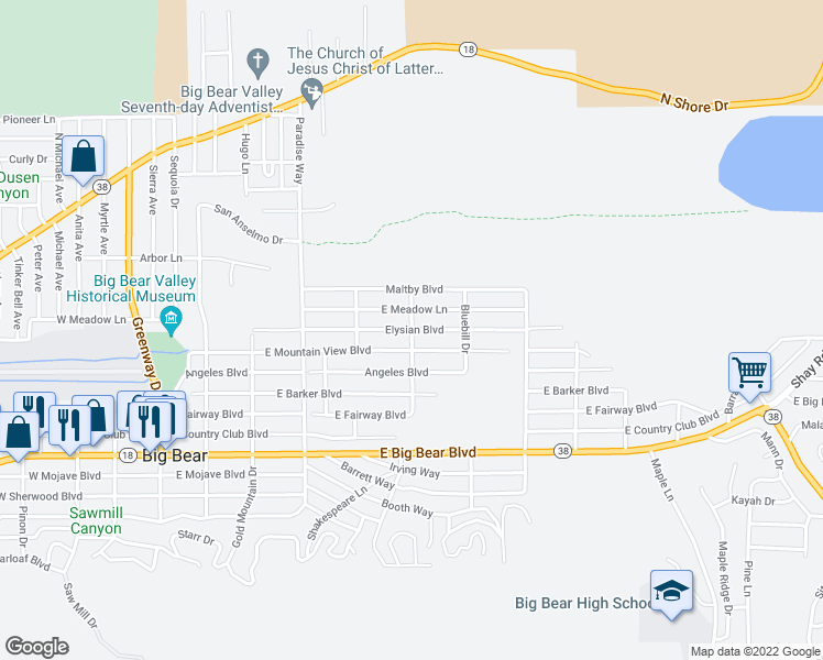 map of restaurants, bars, coffee shops, grocery stores, and more near 698 Pintail Drive in Big Bear