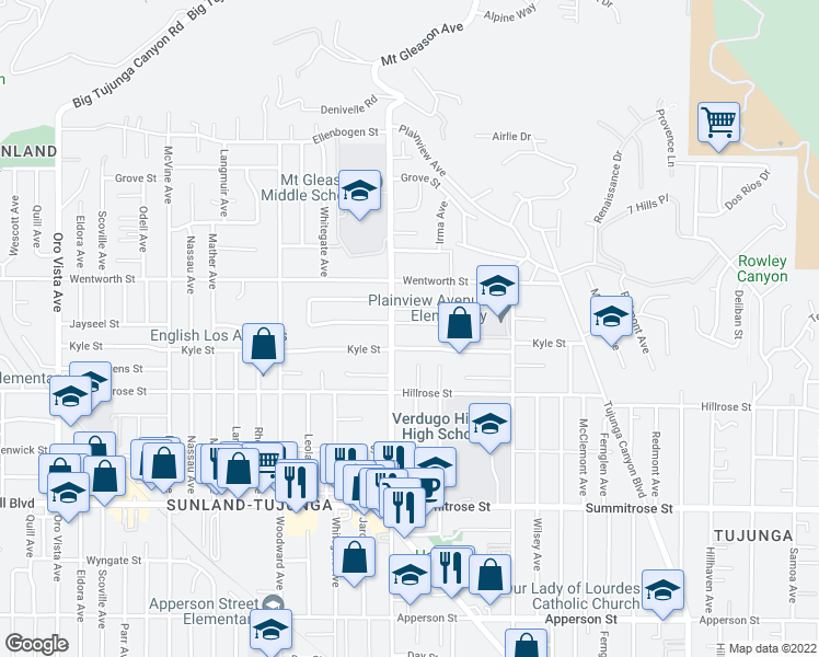 map of restaurants, bars, coffee shops, grocery stores, and more near 7752 Jayseel Street in Los Angeles