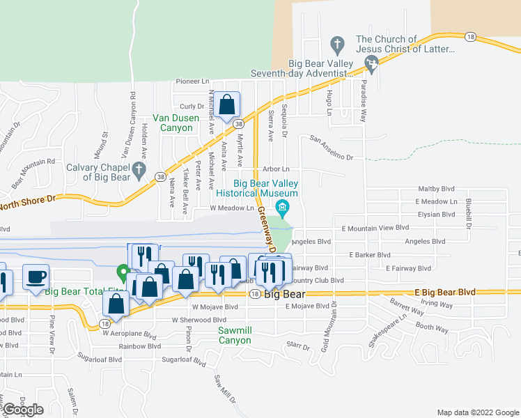 map of restaurants, bars, coffee shops, grocery stores, and more near 899 Greenway Drive in Big Bear