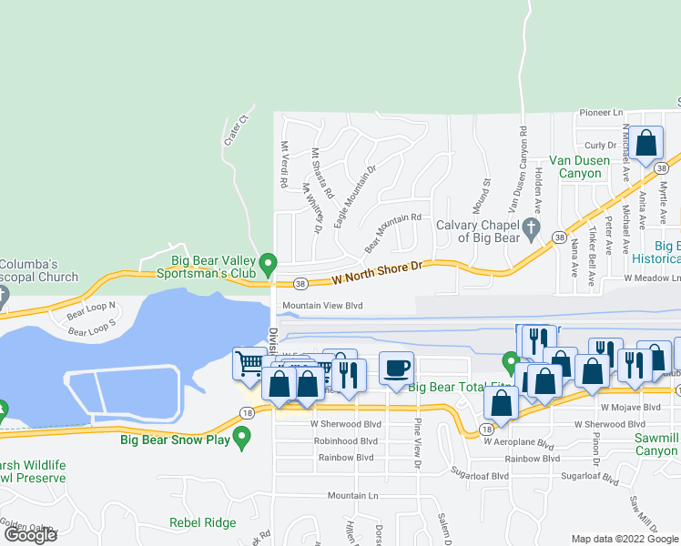 map of restaurants, bars, coffee shops, grocery stores, and more near 1033 West North Shore Drive in Big Bear