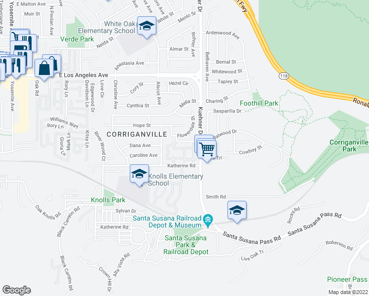 map of restaurants, bars, coffee shops, grocery stores, and more near Twin Circle Lane in Simi Valley