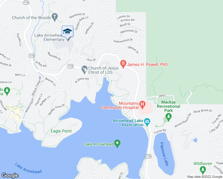 map of restaurants, bars, coffee shops, grocery stores, and more near 28943 North Shore Road in Lake Arrowhead