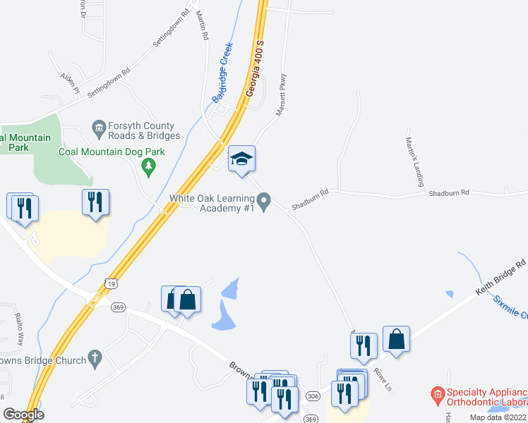 map of restaurants, bars, coffee shops, grocery stores, and more near 4760 Martin Road in Cumming