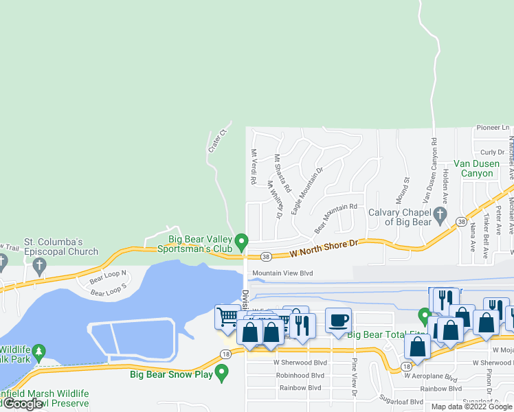 map of restaurants, bars, coffee shops, grocery stores, and more near 1043 Pine Mountain Drive in Big Bear