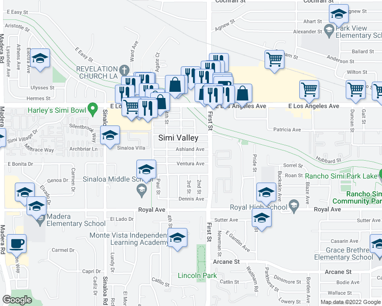 map of restaurants, bars, coffee shops, grocery stores, and more near 974 Ashland Avenue in Simi Valley