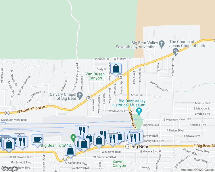 map of restaurants, bars, coffee shops, grocery stores, and more near 300 West North Shore Drive in Big Bear