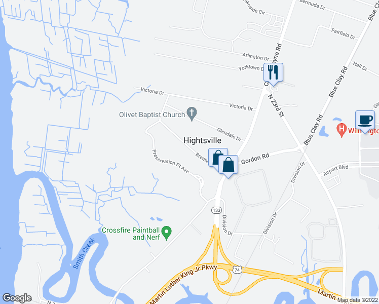 map of restaurants, bars, coffee shops, grocery stores, and more near 142 Brentwood Drive in Wilmington