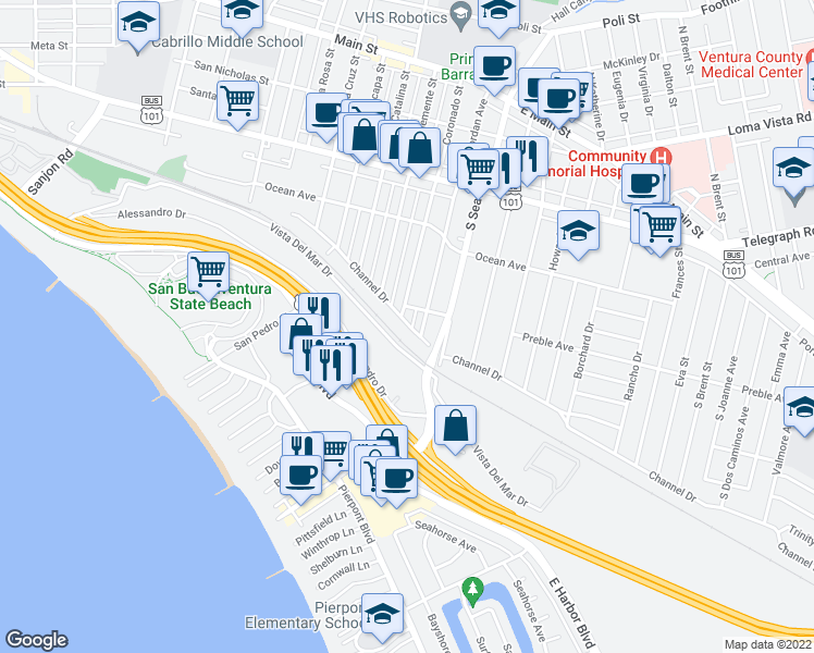 map of restaurants, bars, coffee shops, grocery stores, and more near 2210 Channel Drive in Ventura