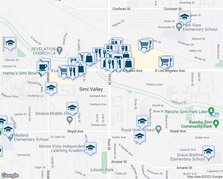 map of restaurants, bars, coffee shops, grocery stores, and more near 1750 First Street in Simi Valley