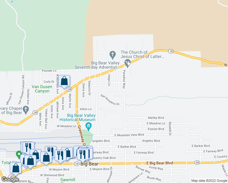 map of restaurants, bars, coffee shops, grocery stores, and more near 312 East Tiger Lily Drive in Big Bear