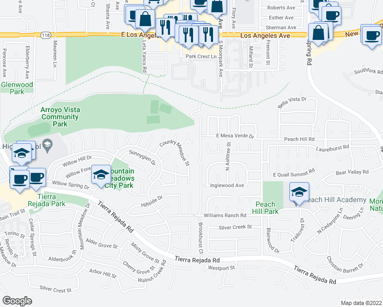 map of restaurants, bars, coffee shops, grocery stores, and more near 4368 East Autumnmeadow Circle in Moorpark