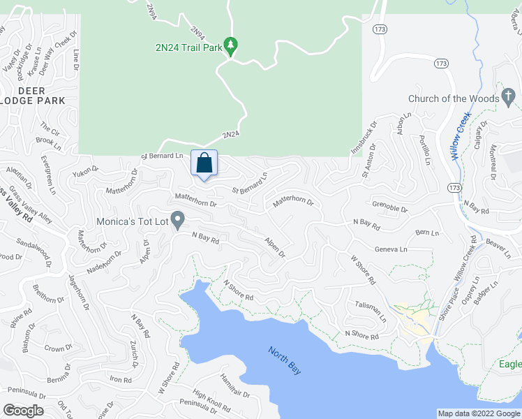 map of restaurants, bars, coffee shops, grocery stores, and more near 27816 Matterhorn Drive in Lake Arrowhead