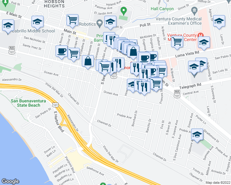 map of restaurants, bars, coffee shops, grocery stores, and more near 2425 Ocean Avenue in Ventura