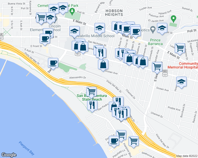 map of restaurants, bars, coffee shops, grocery stores, and more near 1776 Vista Del Mar Drive in Ventura