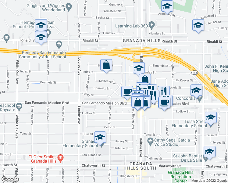 map of restaurants, bars, coffee shops, grocery stores, and more near Donmetz Street in Los Angeles