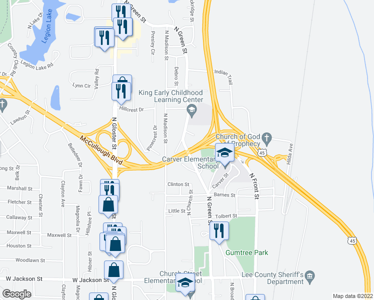 map of restaurants, bars, coffee shops, grocery stores, and more near McCullough Boulevard in Tupelo