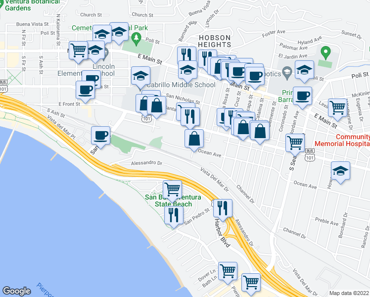 map of restaurants, bars, coffee shops, grocery stores, and more near 1683 Ocean Ave in Ventura