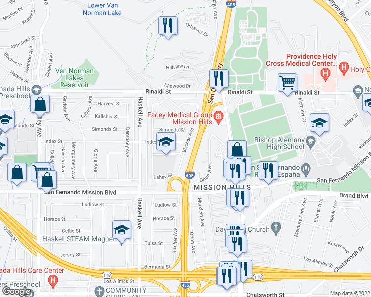 map of restaurants, bars, coffee shops, grocery stores, and more near Blucher Avenue in Los Angeles