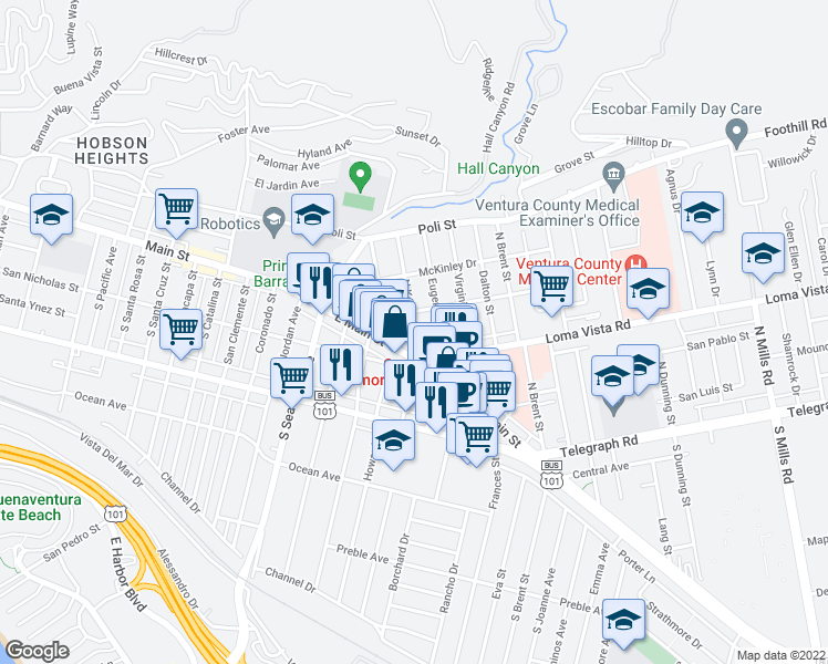 map of restaurants, bars, coffee shops, grocery stores, and more near 61 South Katherine Drive in Ventura