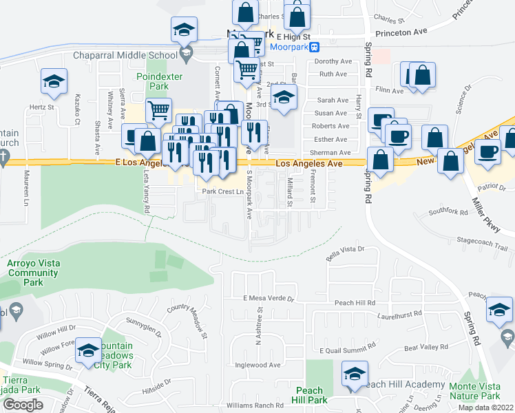 map of restaurants, bars, coffee shops, grocery stores, and more near 51-63 Majestic Court in Moorpark