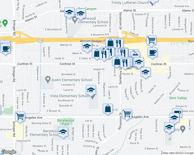 map of restaurants, bars, coffee shops, grocery stores, and more near 2305 Wisteria Street in Simi Valley