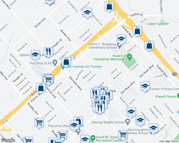 map of restaurants, bars, coffee shops, grocery stores, and more near 11540 Welk Ave in Los Angeles