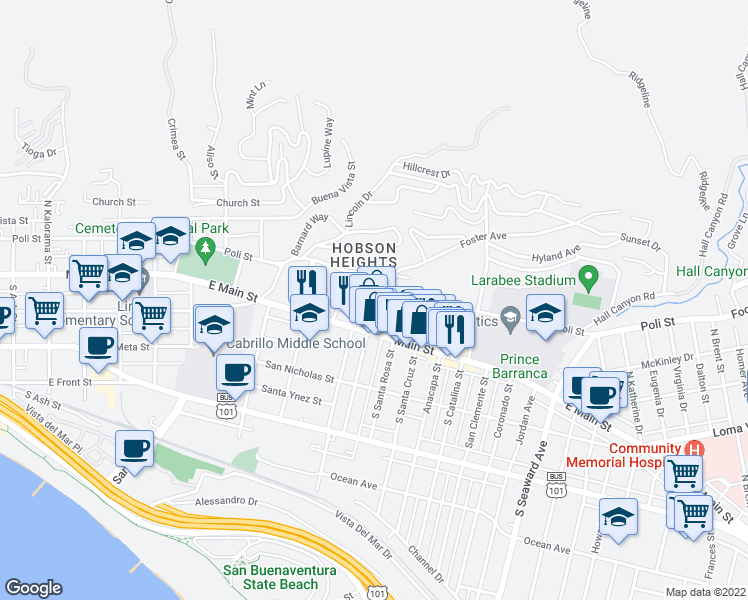 map of restaurants, bars, coffee shops, grocery stores, and more near 1793 Evans Avenue in Ventura