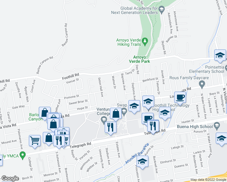 map of restaurants, bars, coffee shops, grocery stores, and more near 309 Walnut Drive in Ventura