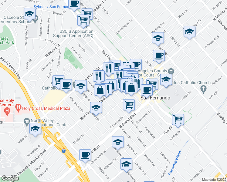 map of restaurants, bars, coffee shops, grocery stores, and more near Coronel Street in San Fernando