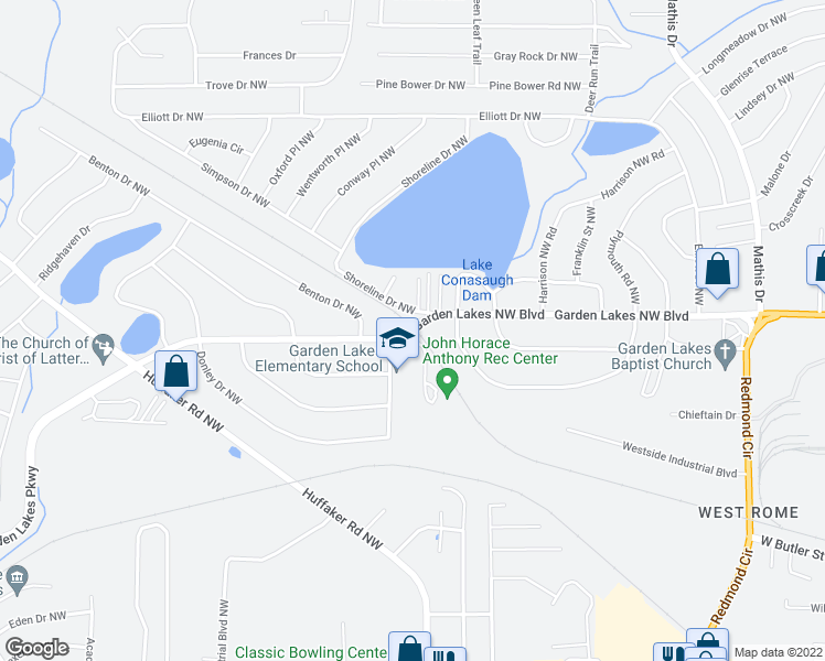 map of restaurants, bars, coffee shops, grocery stores, and more near 2900-2950 Garden Lakes Northwest Boulevard in Rome