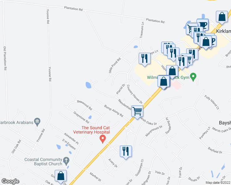 map of restaurants, bars, coffee shops, grocery stores, and more near 7907 Placid Drive in Wilmington