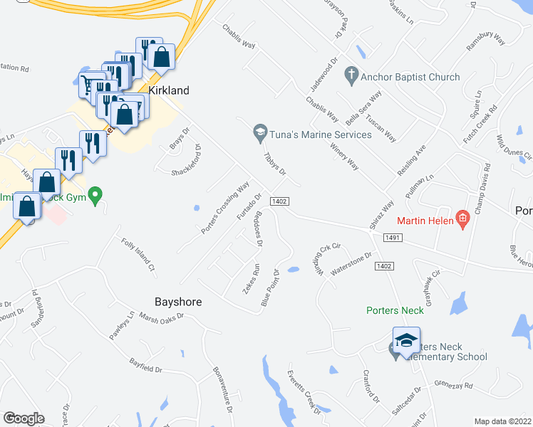 map of restaurants, bars, coffee shops, grocery stores, and more near 600 Blue Point Drive in Wilmington