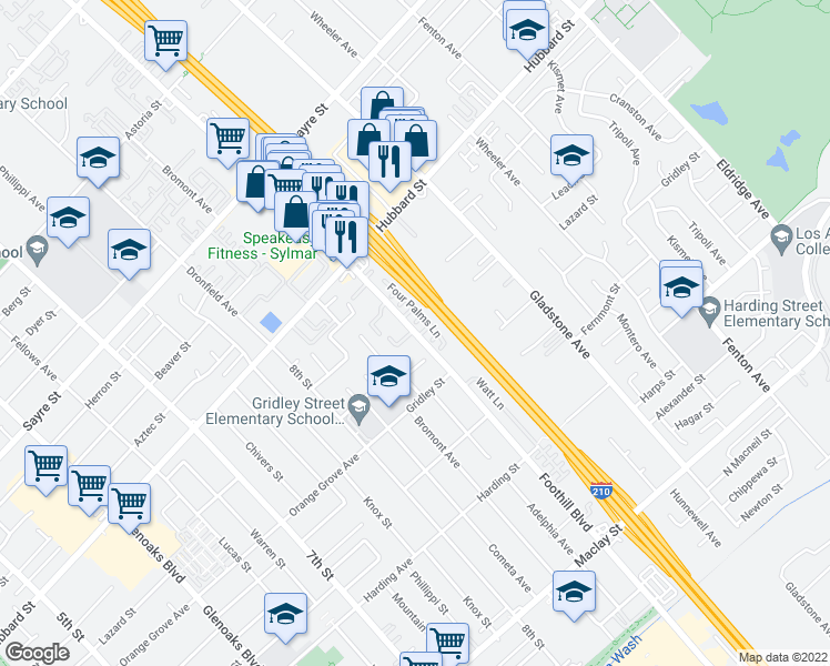 map of restaurants, bars, coffee shops, grocery stores, and more near 13500 Foothill Boulevard in Los Angeles
