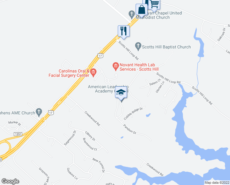 map of restaurants, bars, coffee shops, grocery stores, and more near in Wilmington