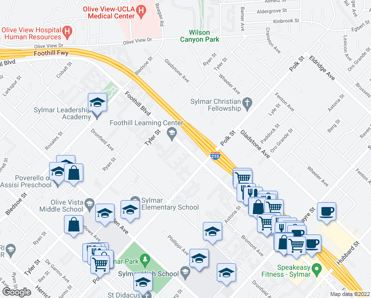 map of restaurants, bars, coffee shops, grocery stores, and more near 14200 Foothill Boulevard in Los Angeles
