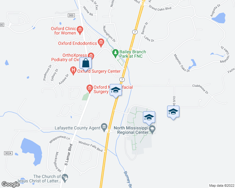 map of restaurants, bars, coffee shops, grocery stores, and more near 2 Industrial Park Drive in Oxford